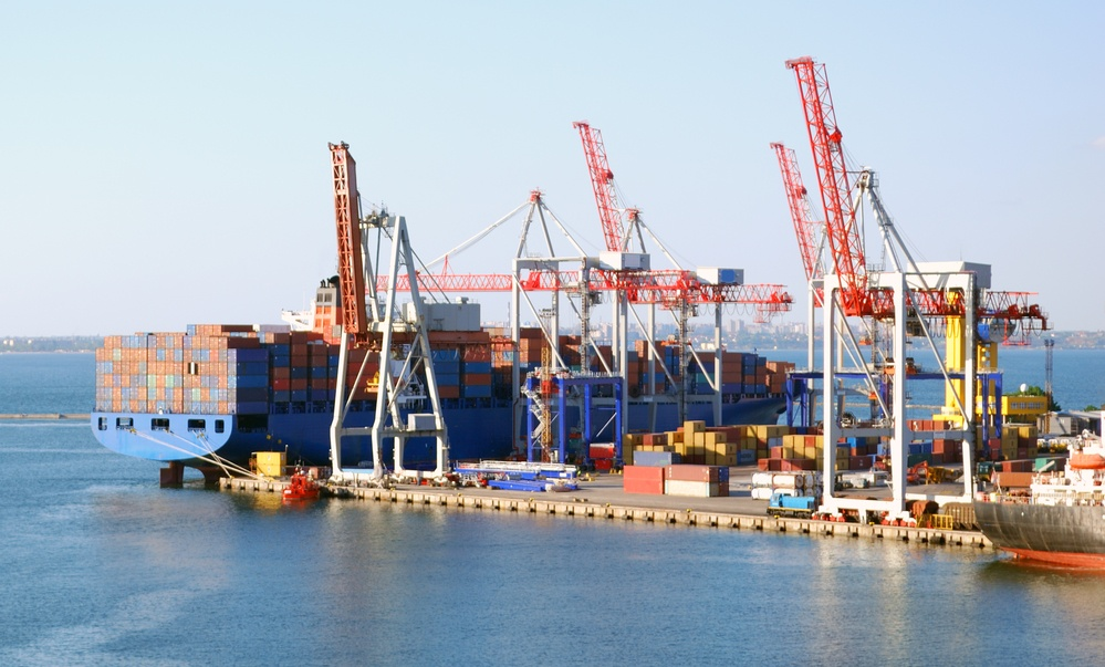 Cargo ship on loading