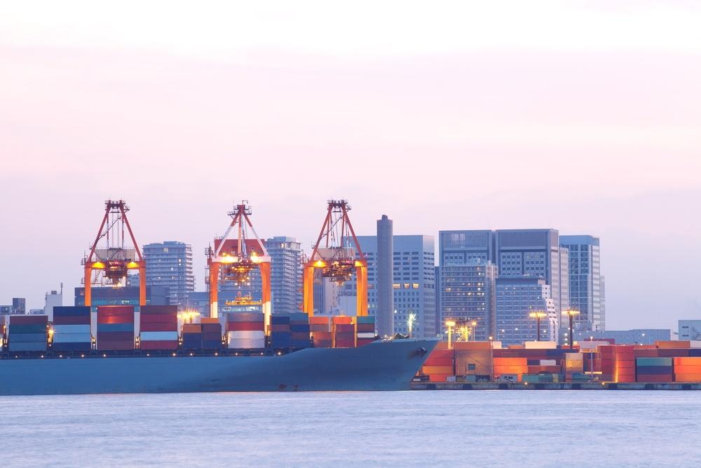 Cargo freight ship dock