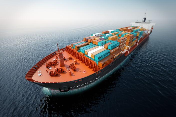 cargo container ship compressed