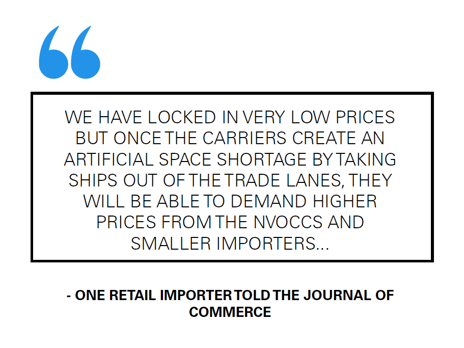 Retail Importer Comments On the Low Ocean Freight Rates