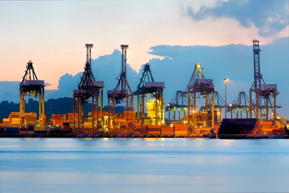 container port terminal dusk