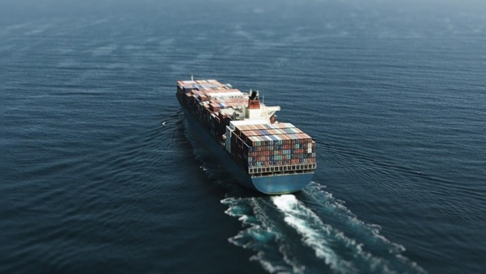 container ship in ocean